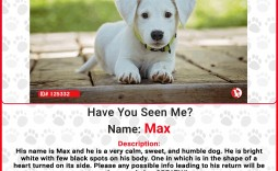 005 Unforgettable Lost Dog Flyer Template Sample  Missing Pet Free Download