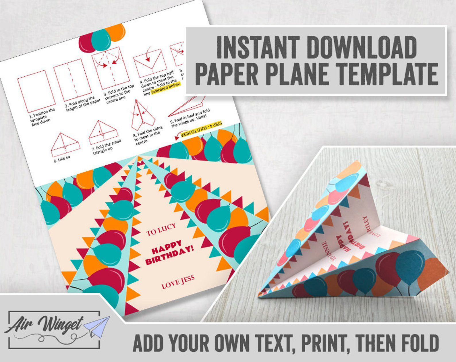 005 Unforgettable Printable Paper Plane Template Design  Free A4Full