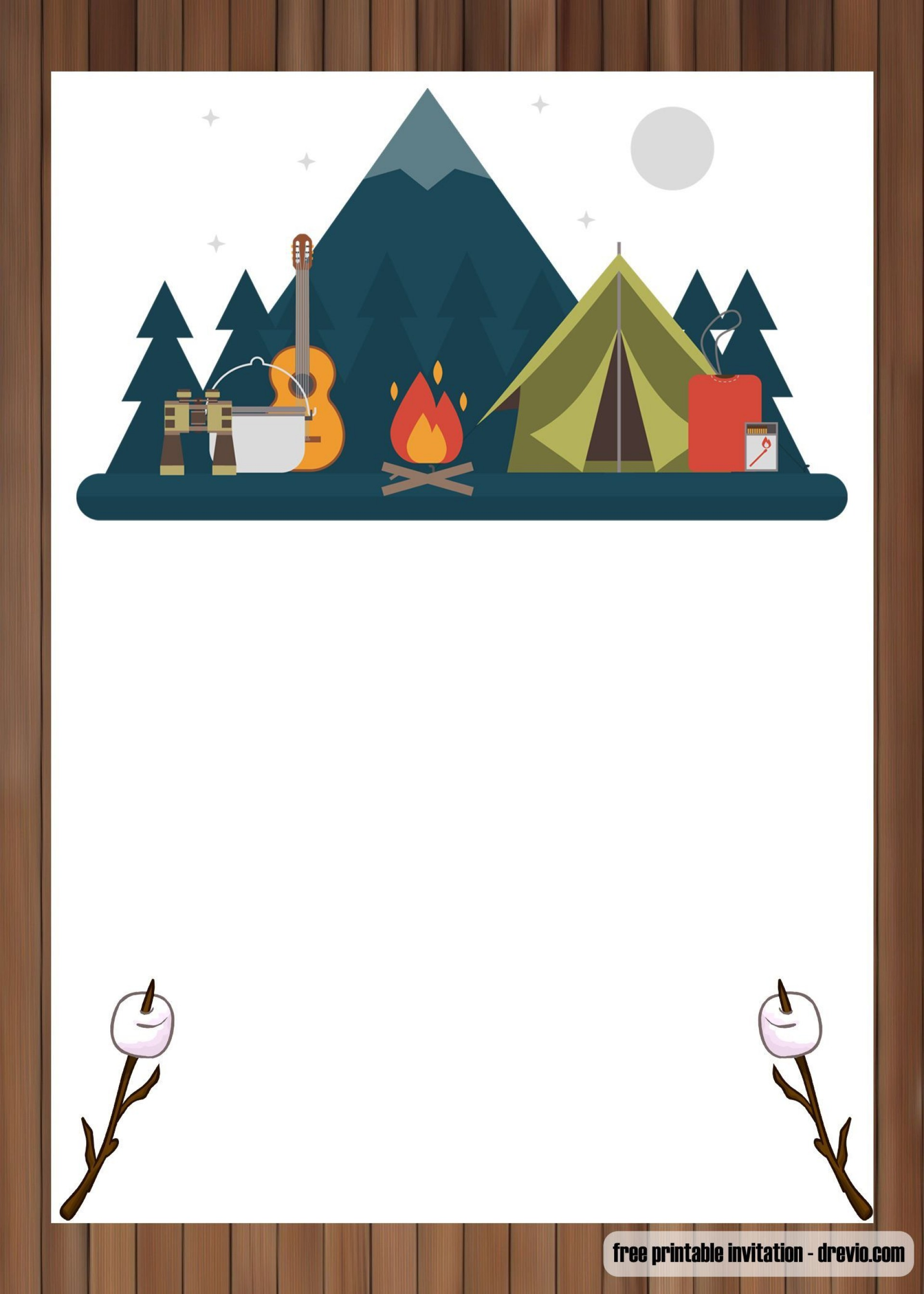 005 Unique Camping Invitation Template Free High Definition  Party Birthday1920