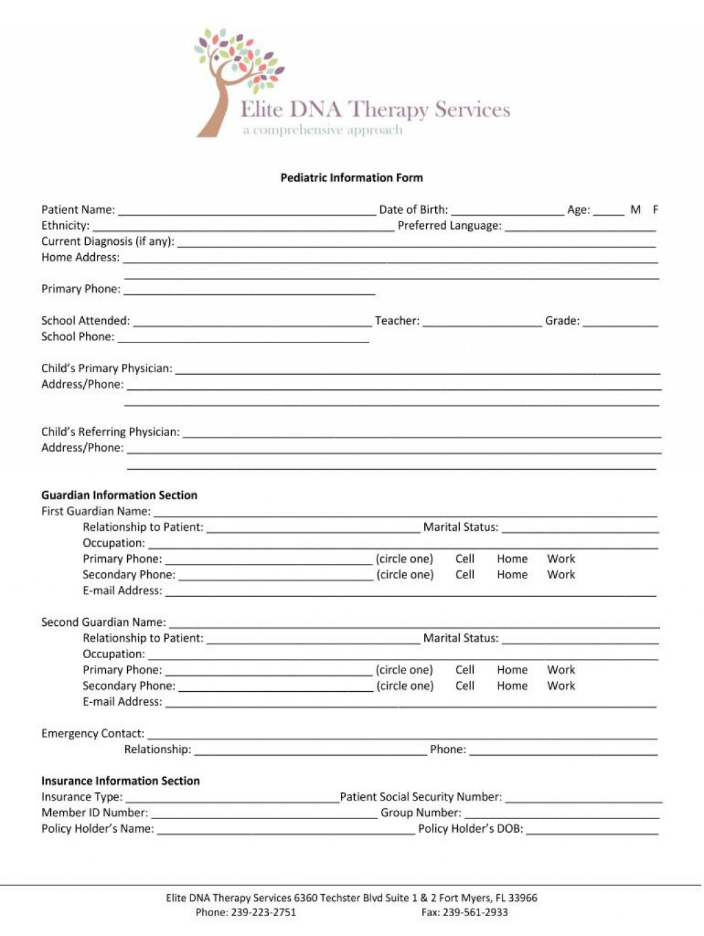 005 Unique Counseling Intake Form Template Design  Templates Therapy Massage FreeLarge