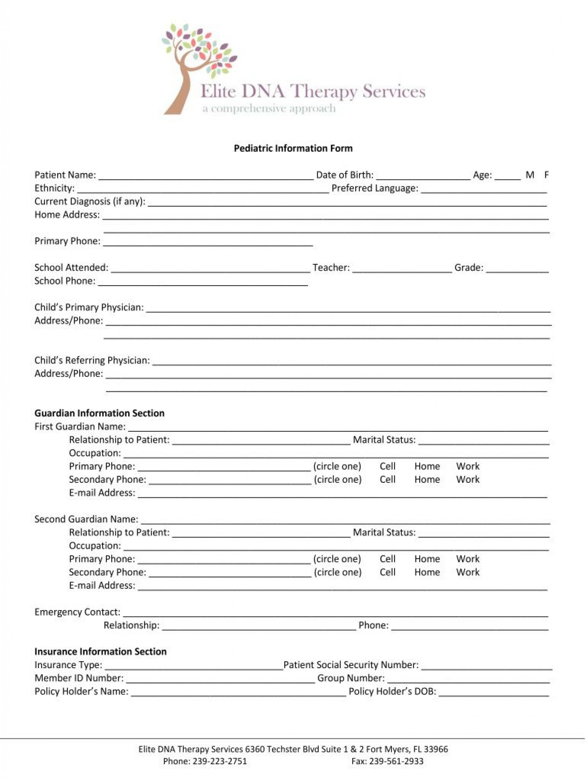 005 Unique Counseling Intake Form Template Design  Templates Therapy Massage Free1920