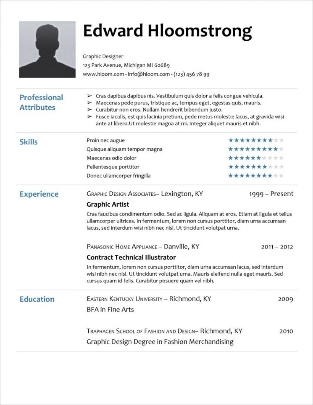 005 Unique Curriculum Vitae Template Free Idea  Sample Pdf Download For Student DocLarge