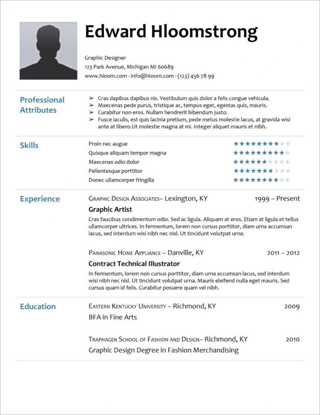 005 Unique Curriculum Vitae Template Free Idea  Sample Download Pdf Google DocLarge