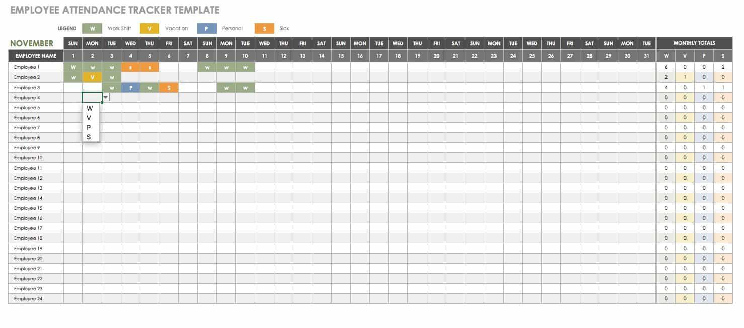005 Unique Employee Attendance Record Template Excel Highest Quality  Free Download With TimeFull