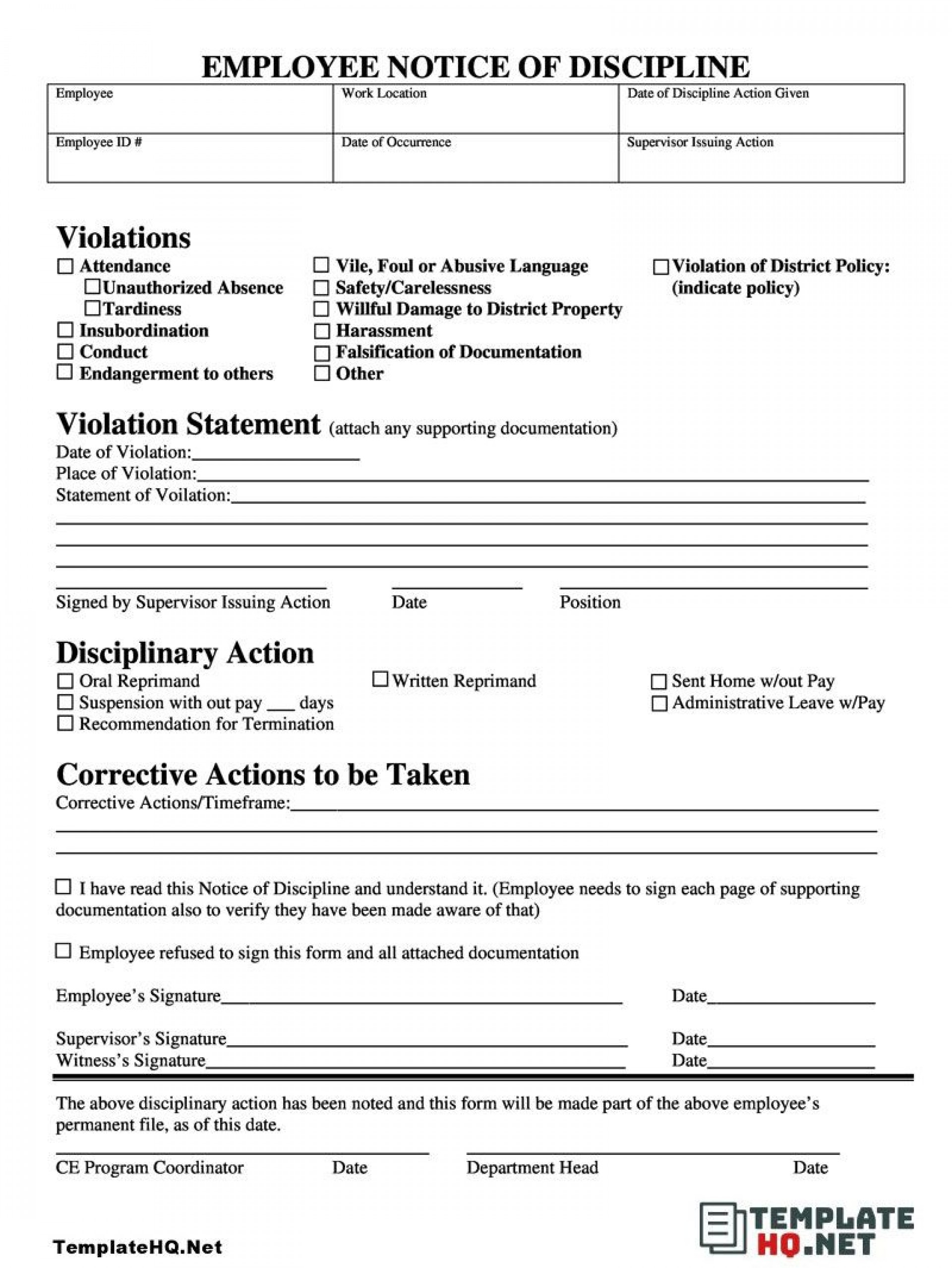 005 Unique Employee Discipline Form Template Highest Clarity  Free Disciplinary Letter Action1920