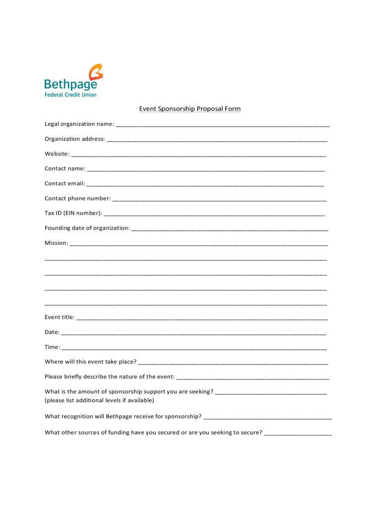 005 Unique Event Sponsorship Form Template Concept  Sponsor RequestFull