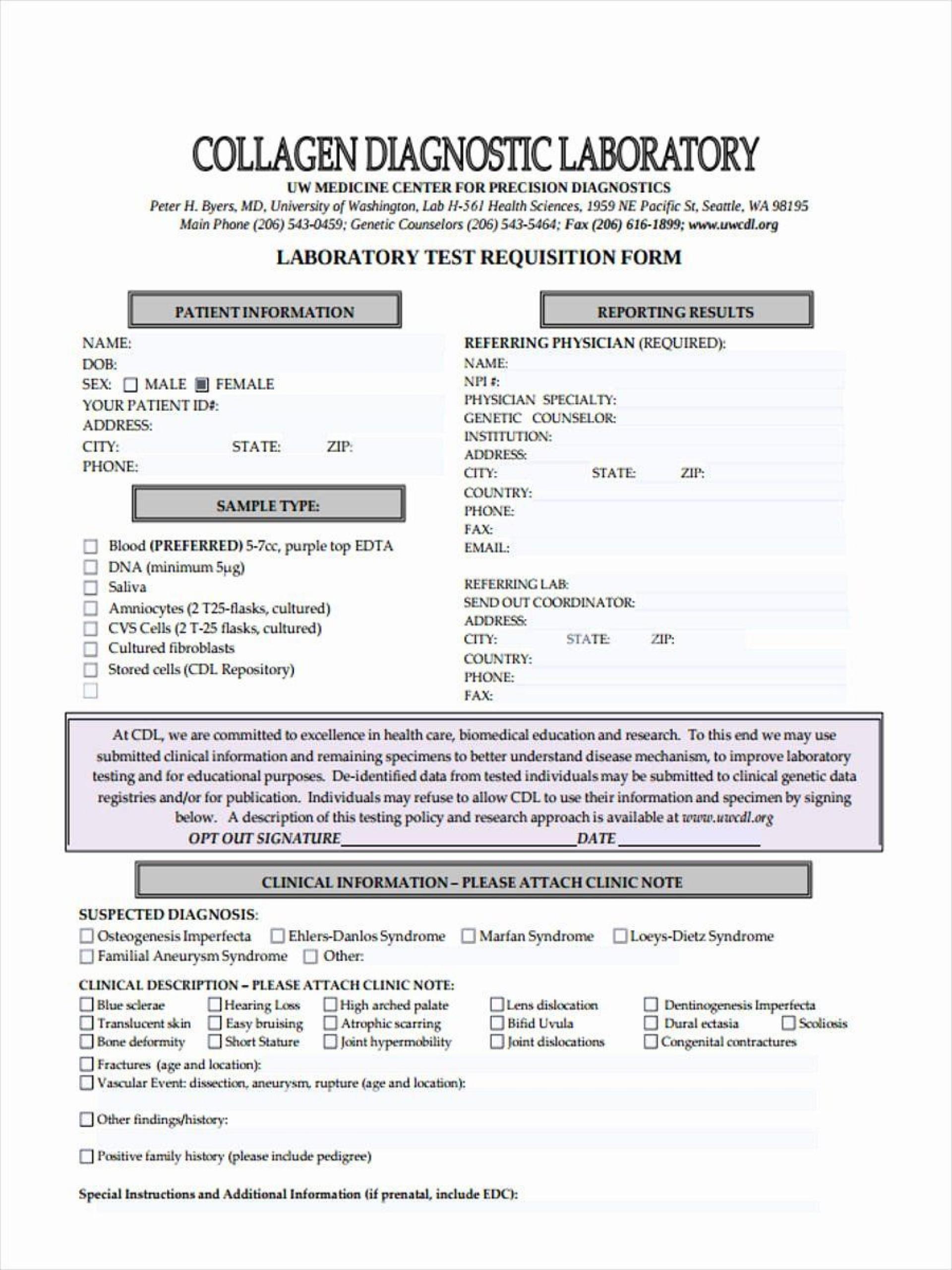 005 Unique Lab Requisition Form Template Concept  Quest Diagnostic Pdf1920