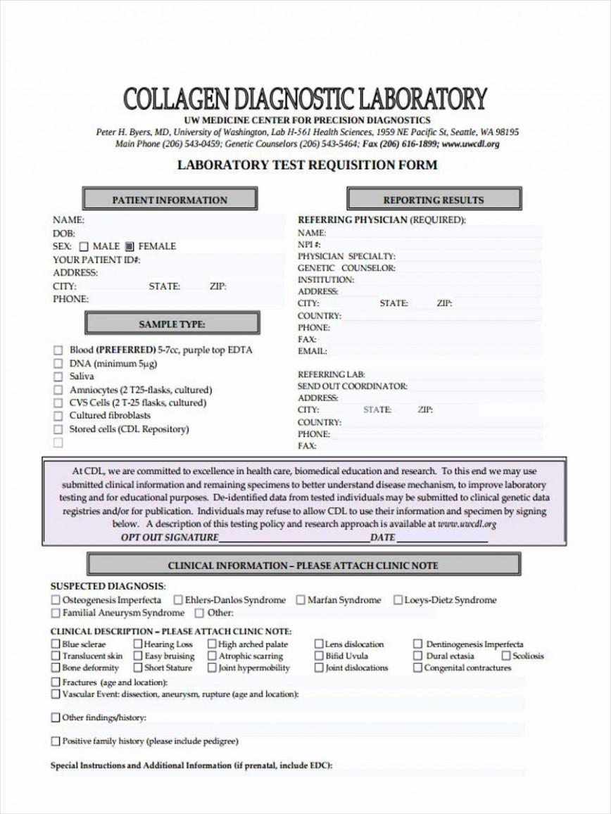 005 Unique Lab Requisition Form Template Concept  Quest Diagnostic Example Word