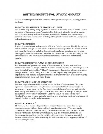 005 Unique Of Mice And Men Essay Image  Prompt Topic360