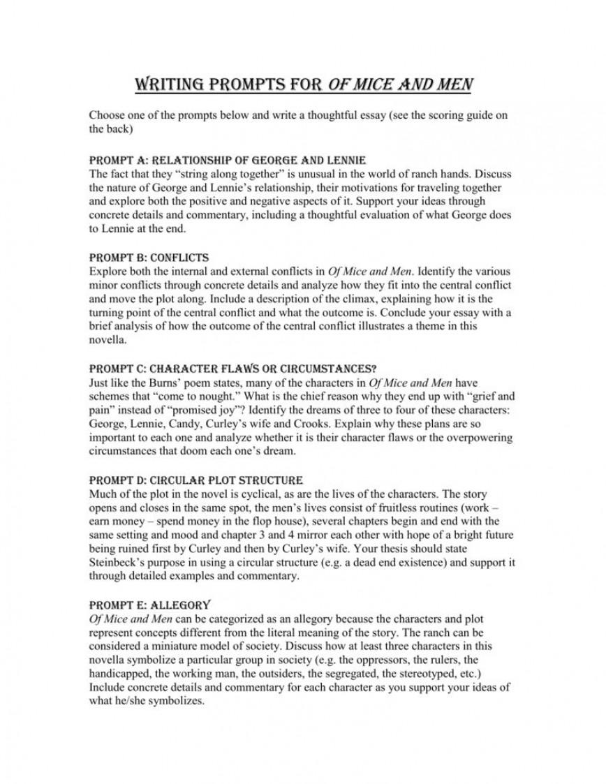 005 Unique Of Mice And Men Essay Image  Prompt Topic868