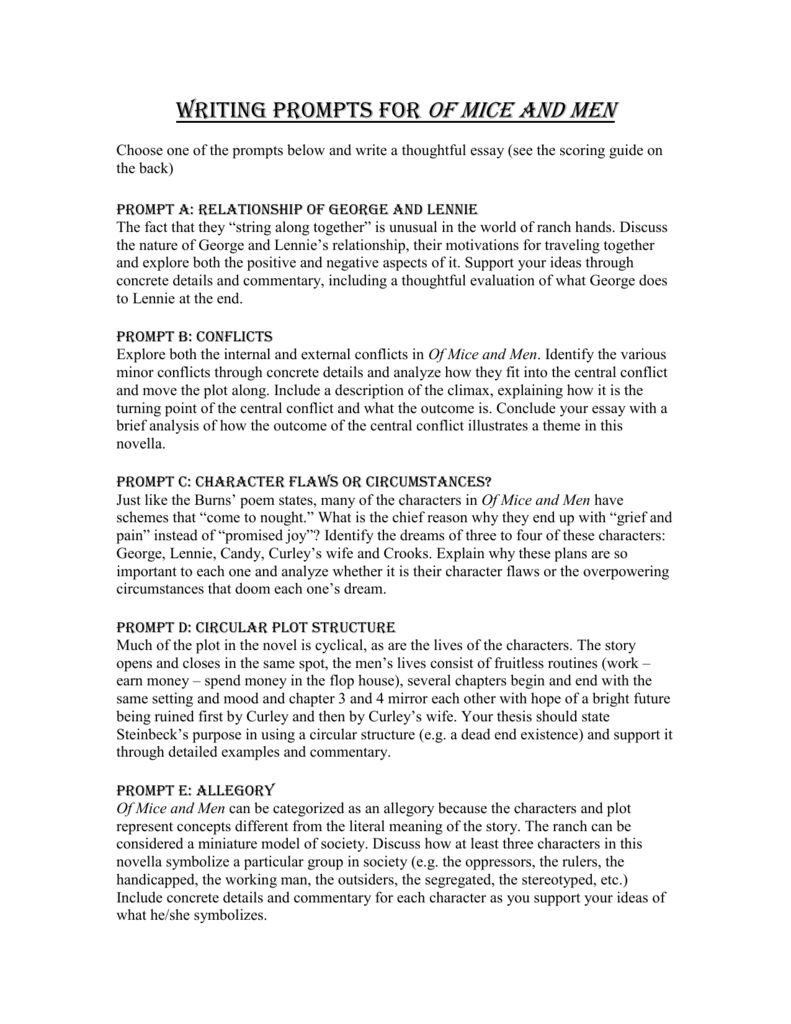 005 Unique Of Mice And Men Essay Image  Prompt TopicFull