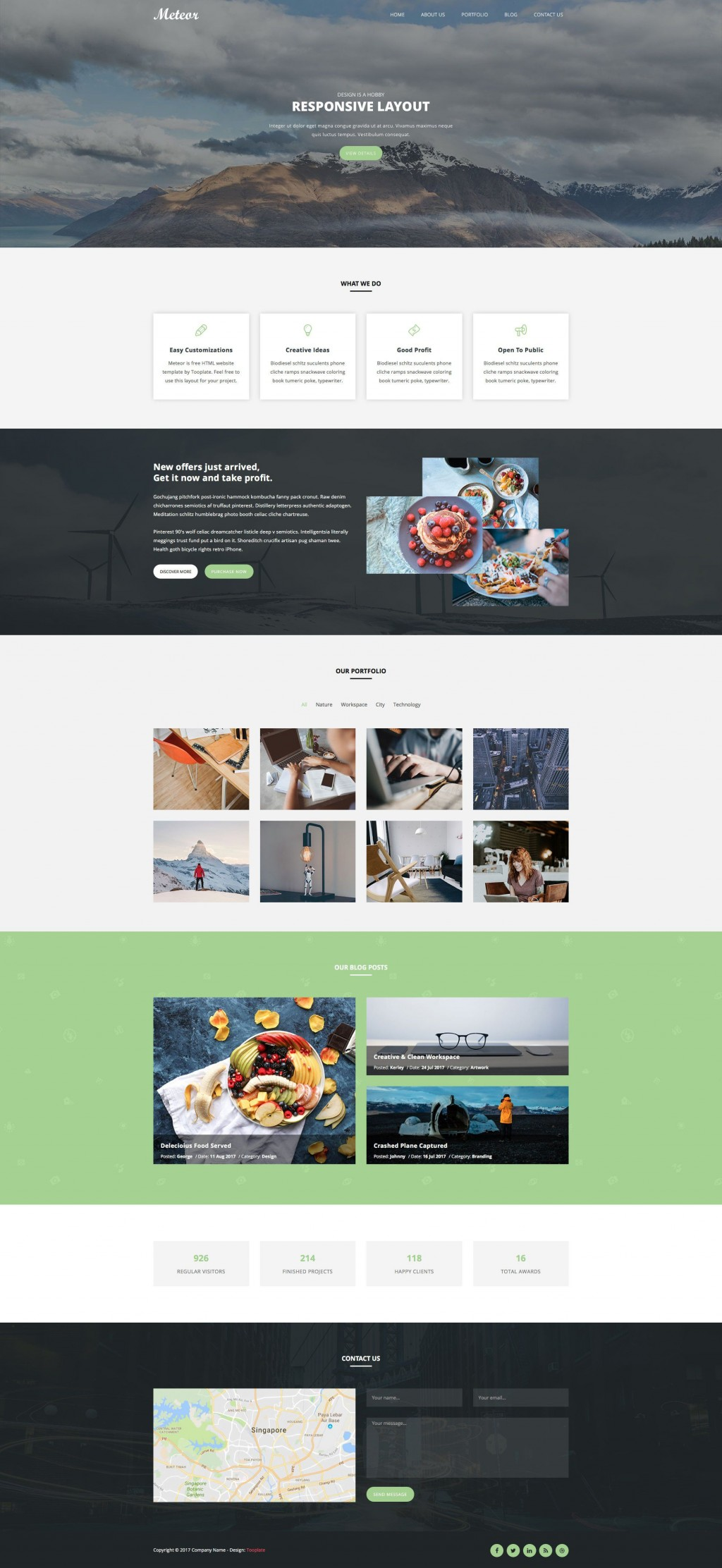 005 Unique One Page Responsive Website Template Bootstrap Free Sample  DownloadLarge