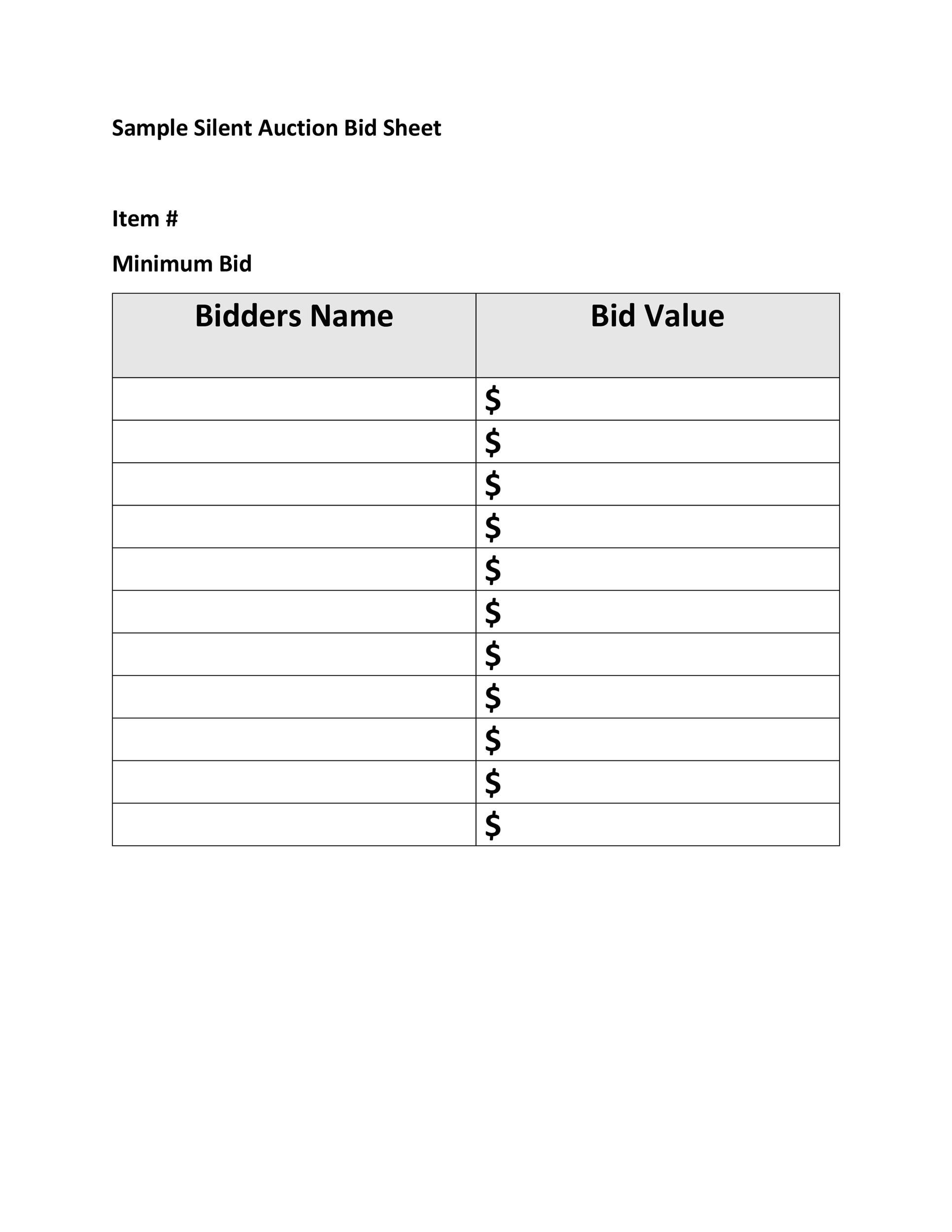 005 Unique Sample Silent Auction Bid Sheet Free  Printable Template DownloadFull