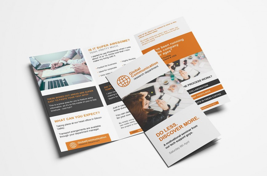 005 Unique Three Fold Brochure Template Psd Design  Free 3 A4 Tri Download868