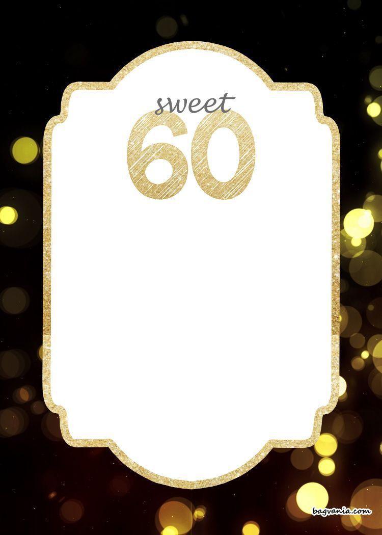 005 Unusual 60 Birthday Invite Template Inspiration  Templates 60th Printable FreeFull