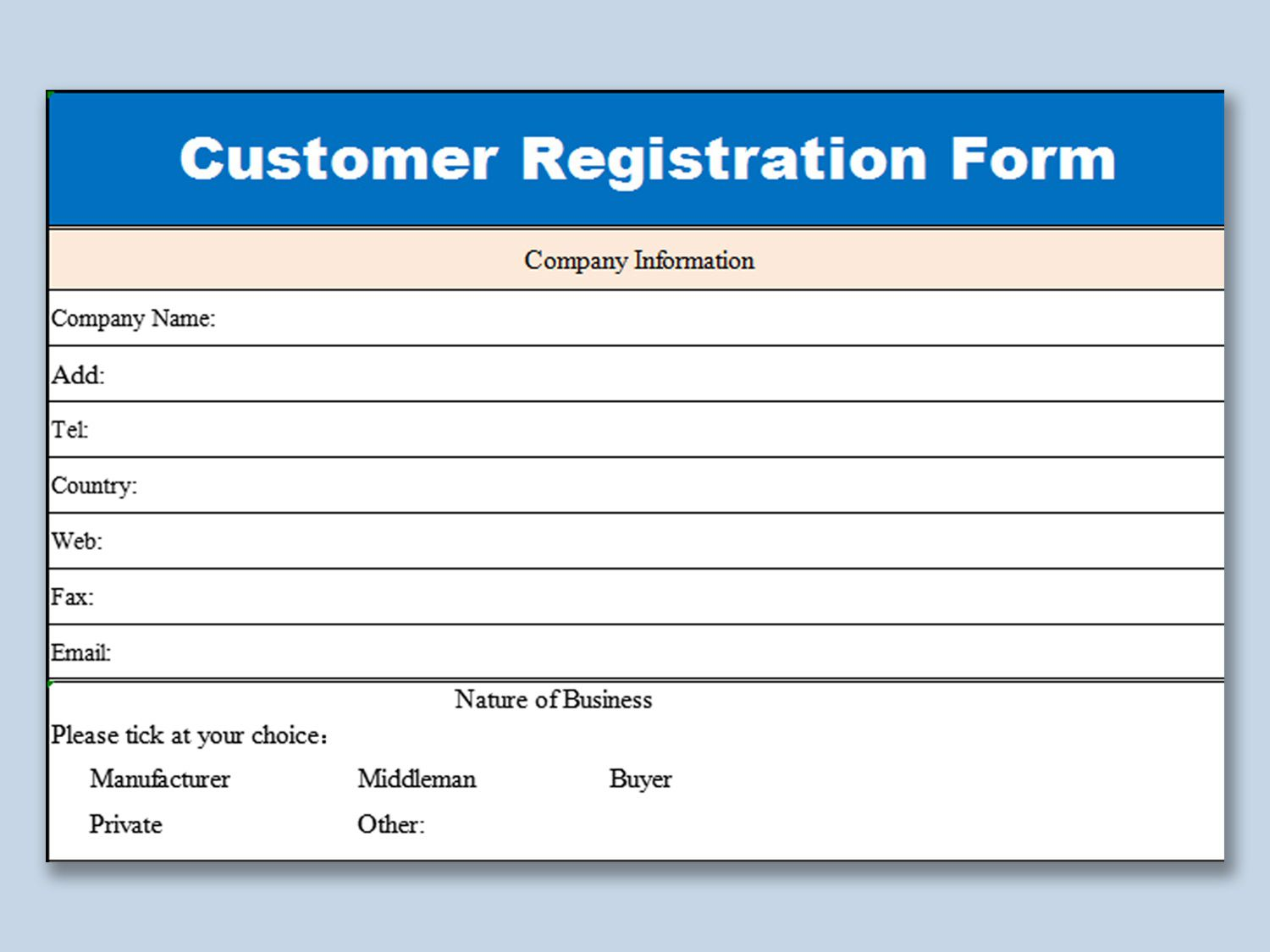 005 Unusual Busines Credit Application Form Template Excel Sample Full