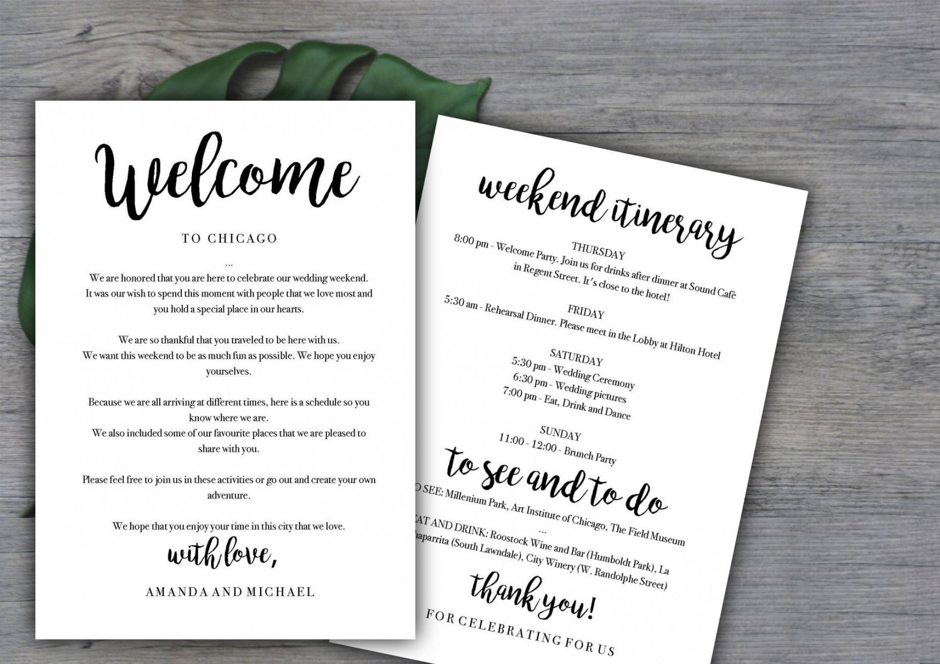 005 Unusual Destination Wedding Welcome Letter Template Highest Quality  And Itinerary1920