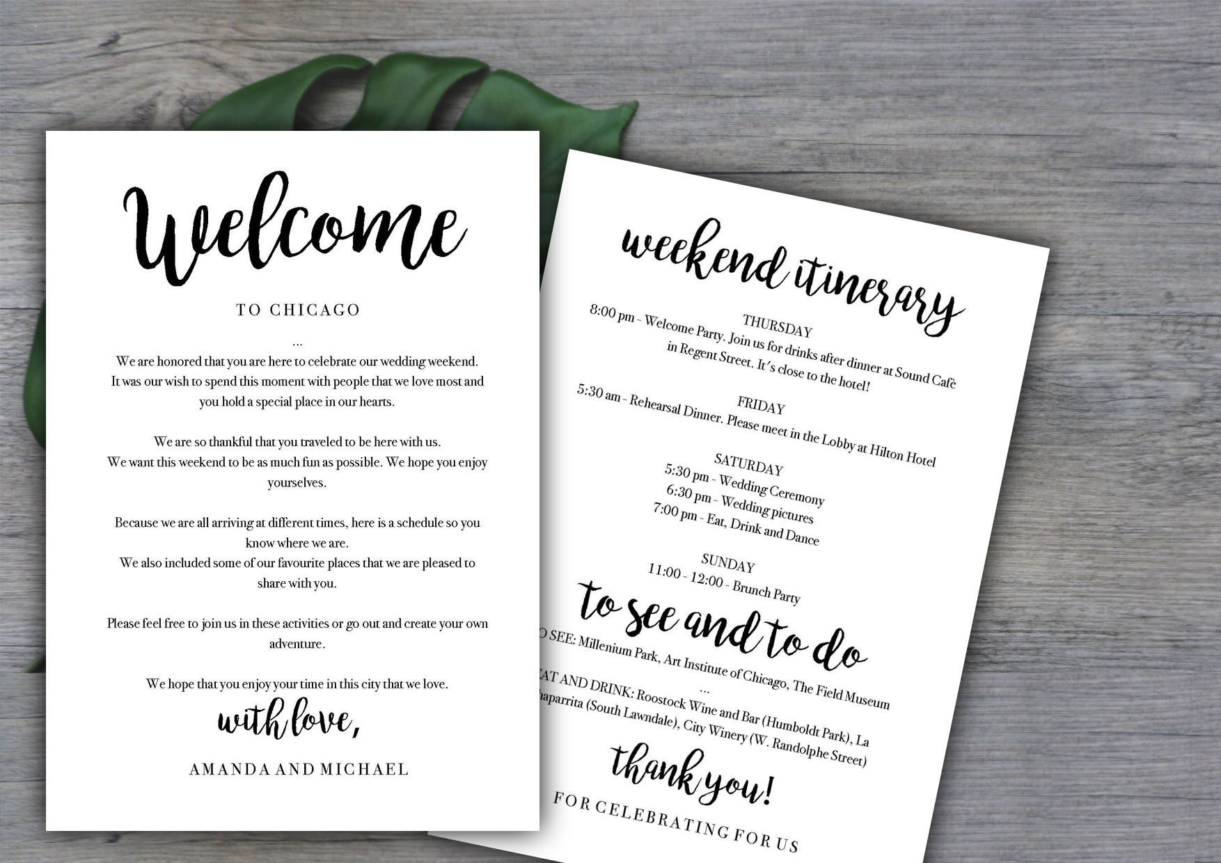 005 Unusual Destination Wedding Welcome Letter Template Highest Quality  And ItineraryFull