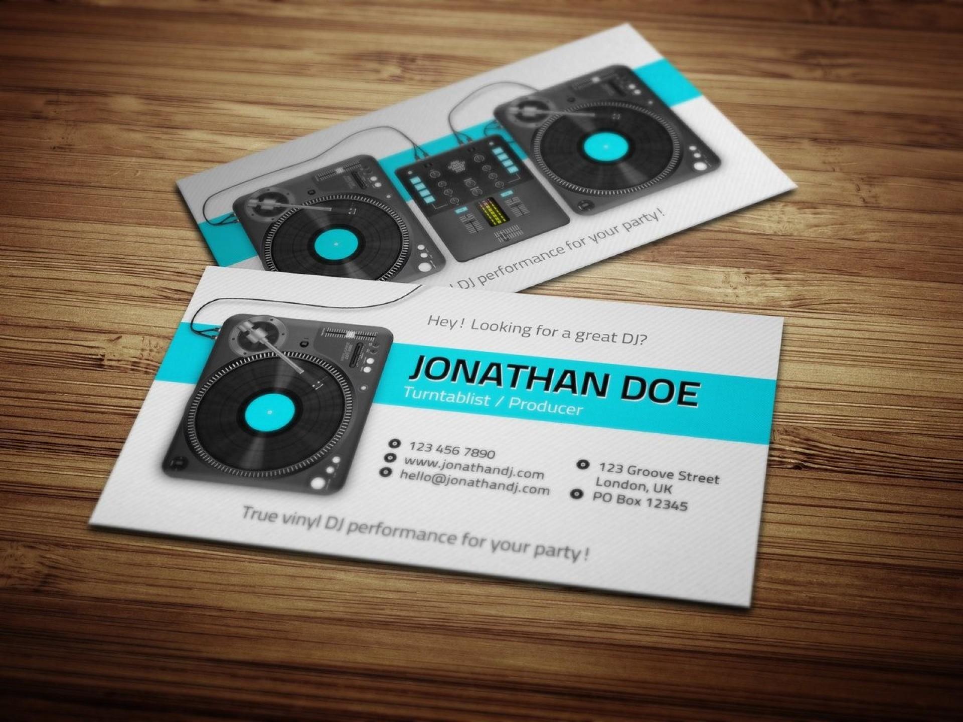 005 Unusual Dj Busines Card Template Design  Psd Free Download1920
