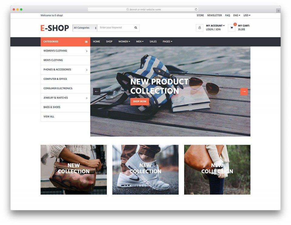 005 Unusual Ecommerce Website Template Html Free Download Sample  Bootstrap 4 Responsive With Cs Jquery960