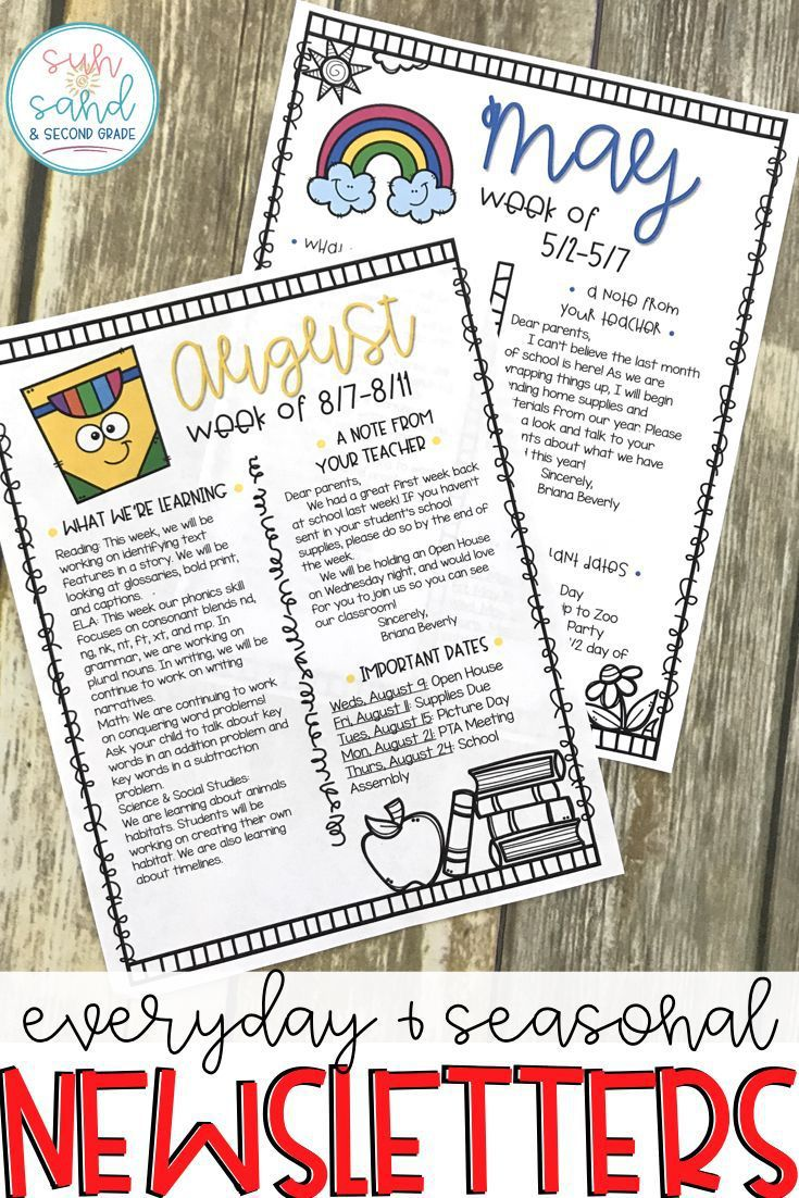 005 Unusual Elementary School Newsletter Template Example  Clas Teacher Free CounselorFull