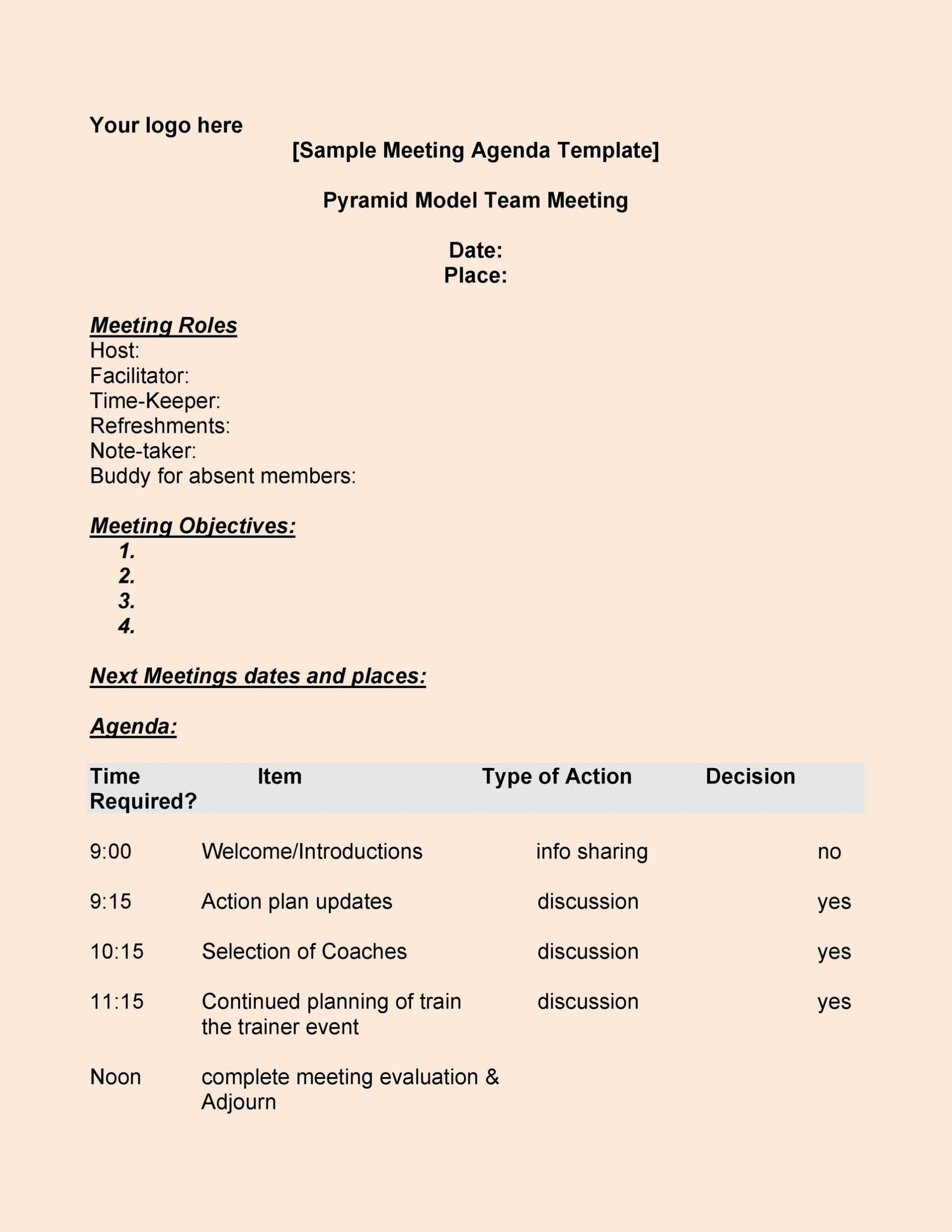 005 Unusual Formal Meeting Agenda Example  Template Free Sample1920