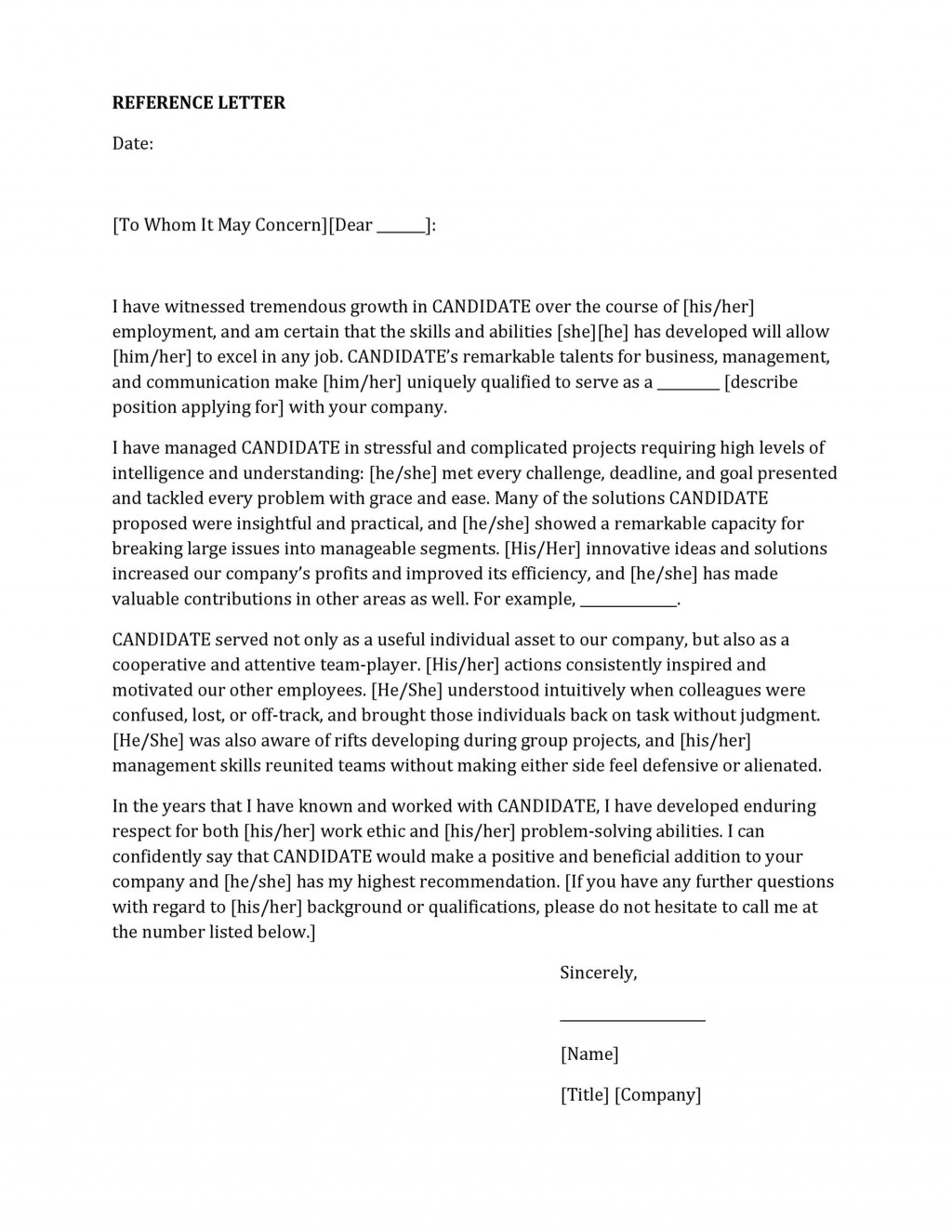 005 Unusual Free Reference Letter Template For Employee Highest Quality  Employment WordLarge