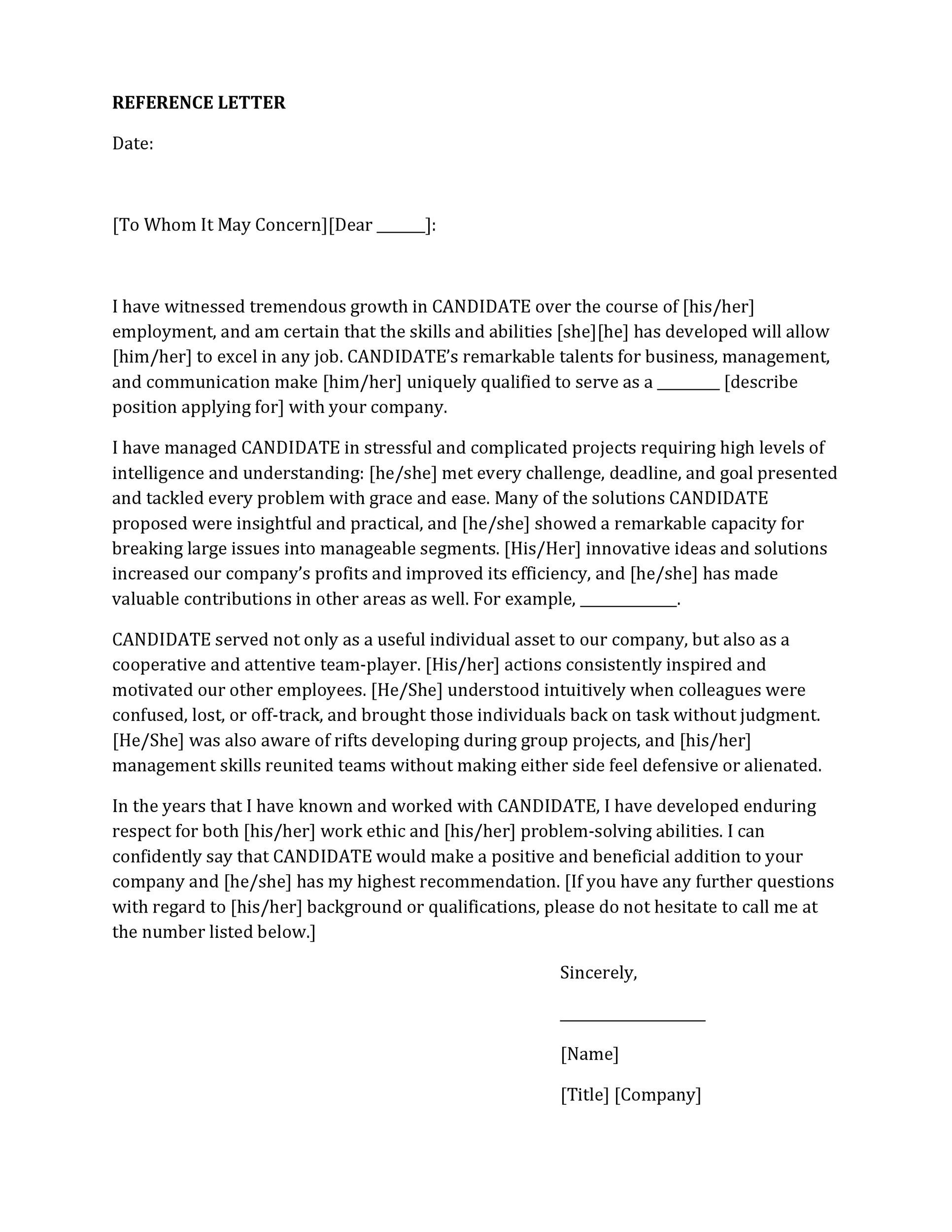 005 Unusual Free Reference Letter Template For Employee Highest Quality  Employment WordFull