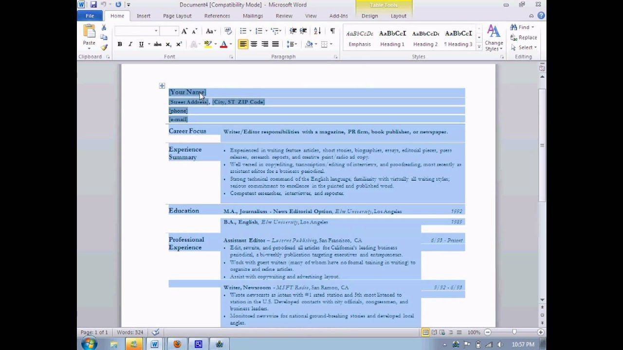 005 Unusual How To Create A Resume Template In Word 2010 Picture  MakeFull