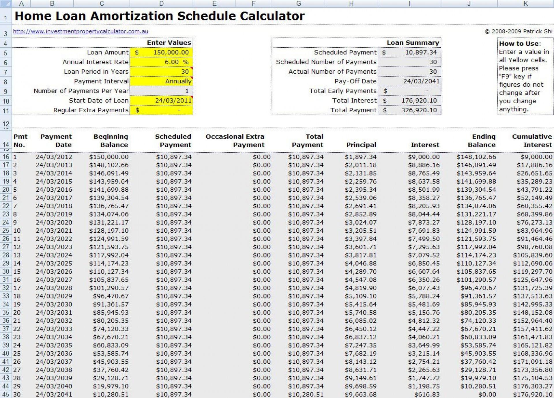 005 Unusual Loan Amortization Excel Template Sample  Schedule 2010 Free 20071920