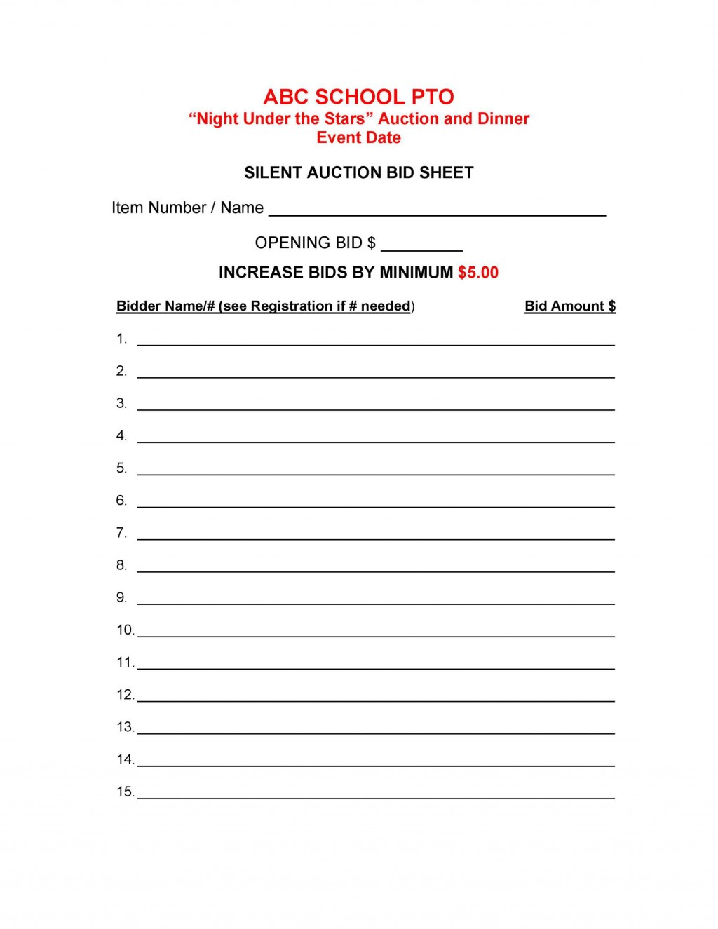 005 Unusual Silent Auction Bid Sheet Template High Def  Free Download Sample Microsoft WordLarge