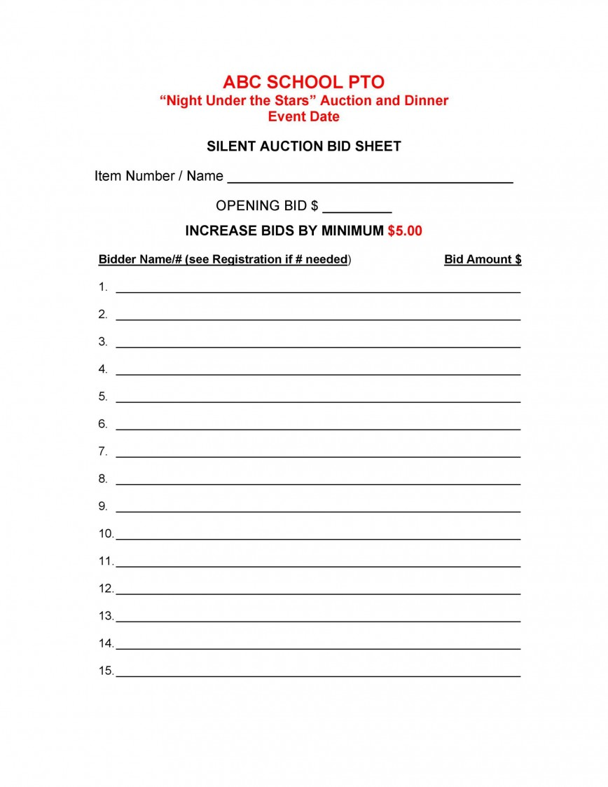 005 Unusual Silent Auction Bid Sheet Template High Def  Free For Mac Pdf Printable