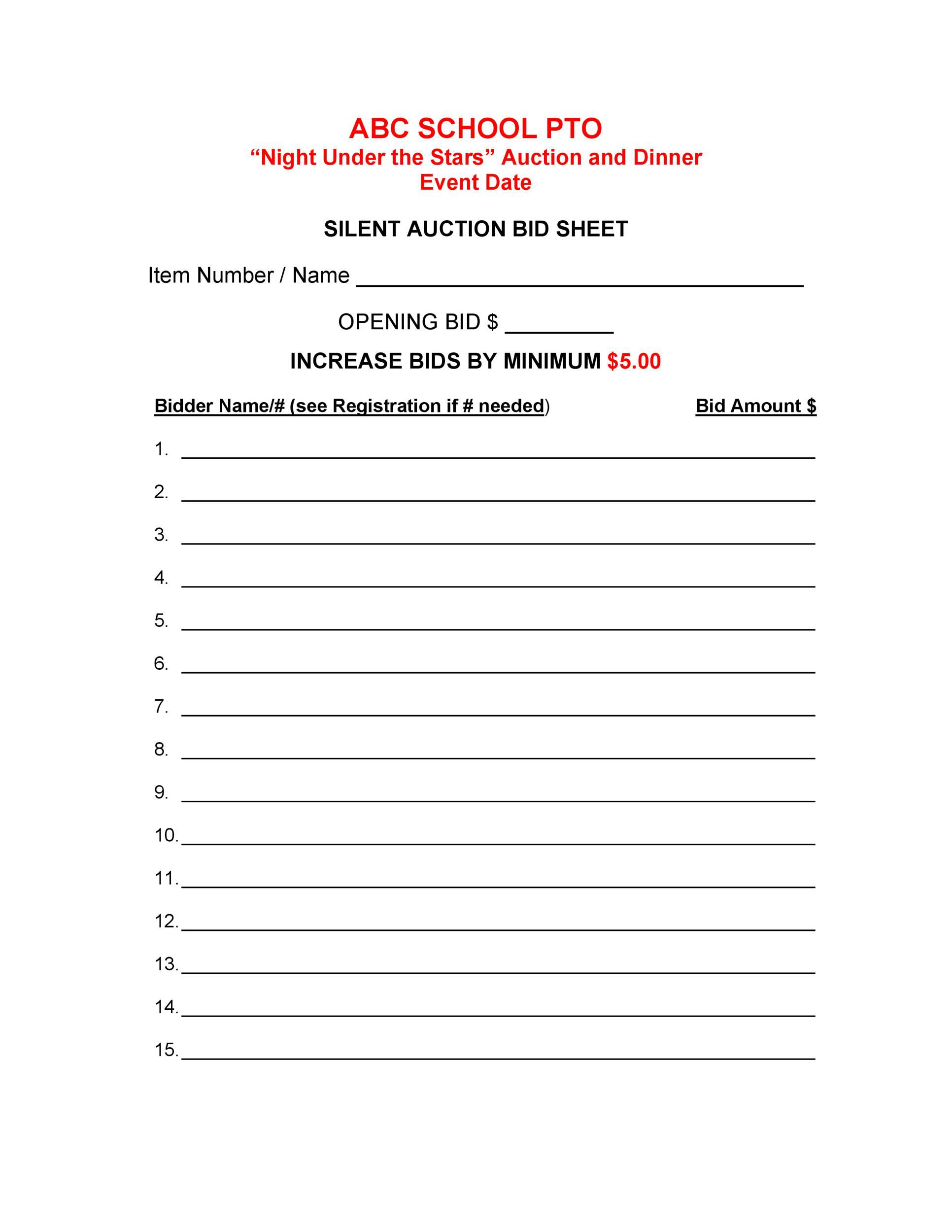 005 Unusual Silent Auction Bid Sheet Template High Def  Free Download Sample Microsoft WordFull