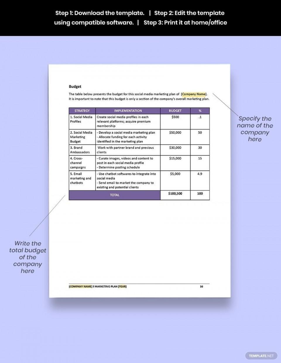 005 Unusual Social Media Marketing Plan Template Doc High Definition 960