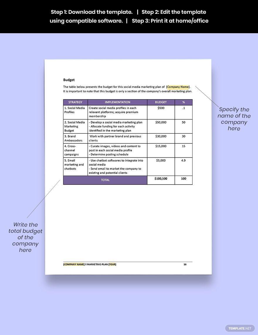 005 Unusual Social Media Marketing Plan Template Doc High Definition Full