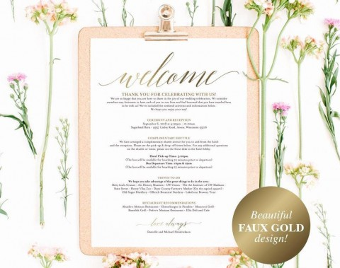 005 Unusual Wedding Hotel Welcome Letter Template Highest Clarity 480