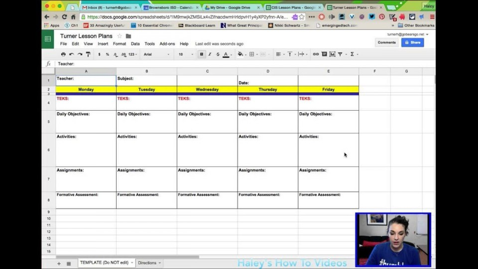 005 Unusual Weekly Lesson Plan Template Google Doc Concept  Ubd Siop960