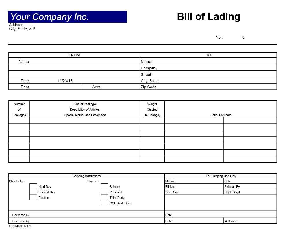 005 Wonderful Bill Of Lading Template Word 2003 Idea Full
