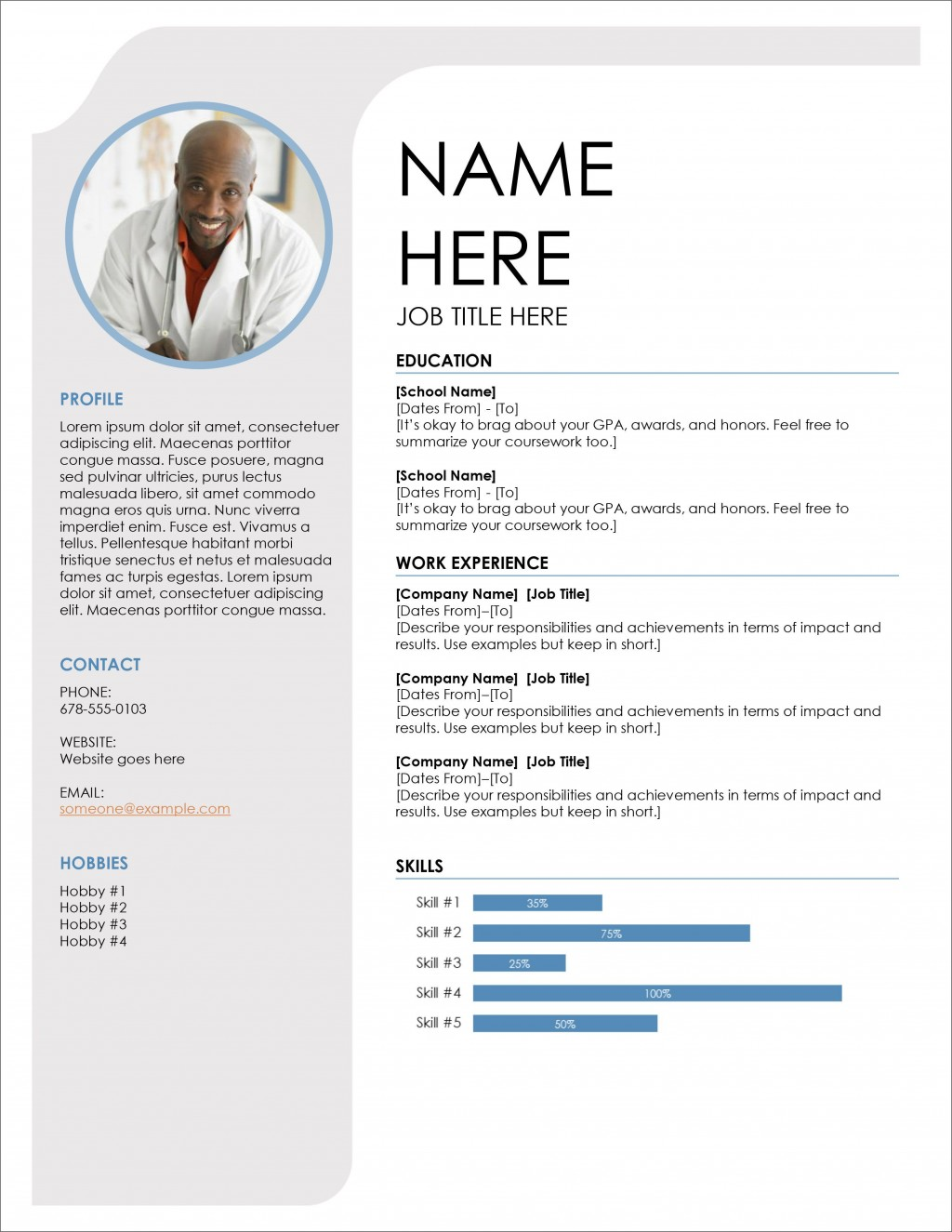 005 Wonderful Download Free Resume Template Photo  Word Professional 2019 2020Large