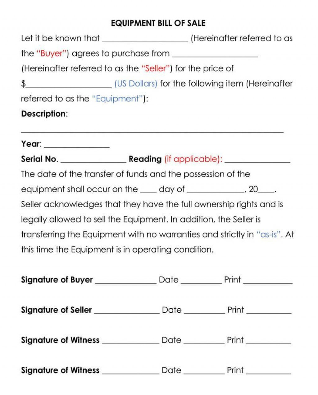 005 Wonderful Equipment Bill Of Sale Form Sample  Forms Word Document Alberta Simple TemplateLarge