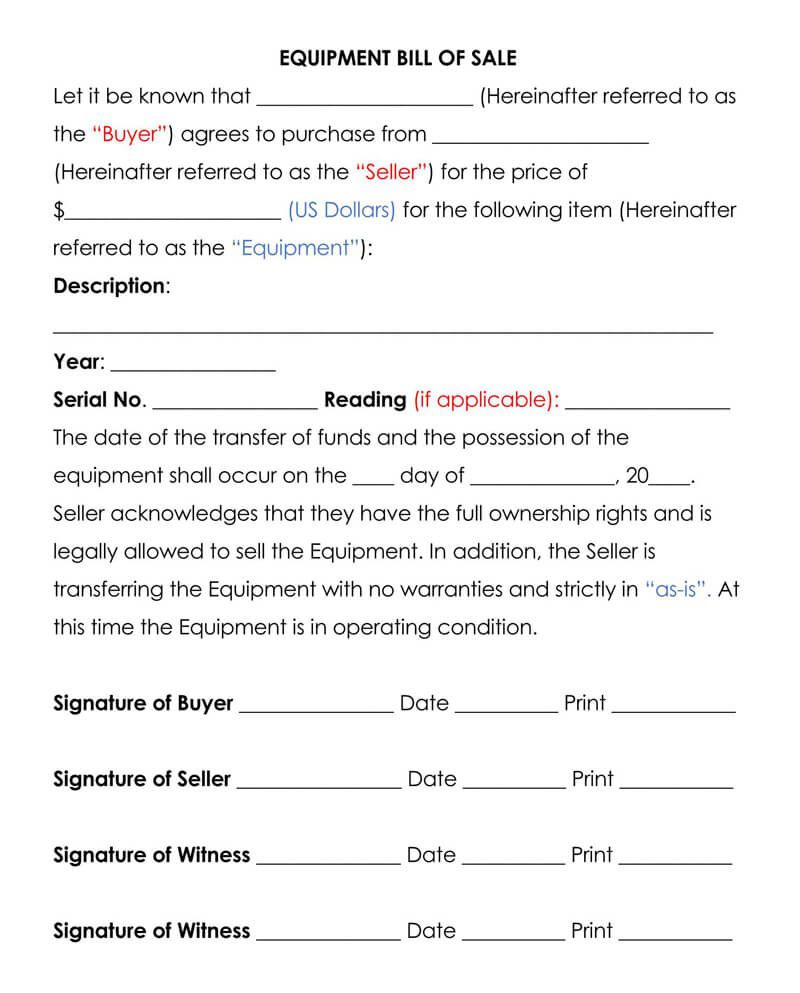 005 Wonderful Equipment Bill Of Sale Form Sample  Forms Word Document Alberta Simple TemplateFull