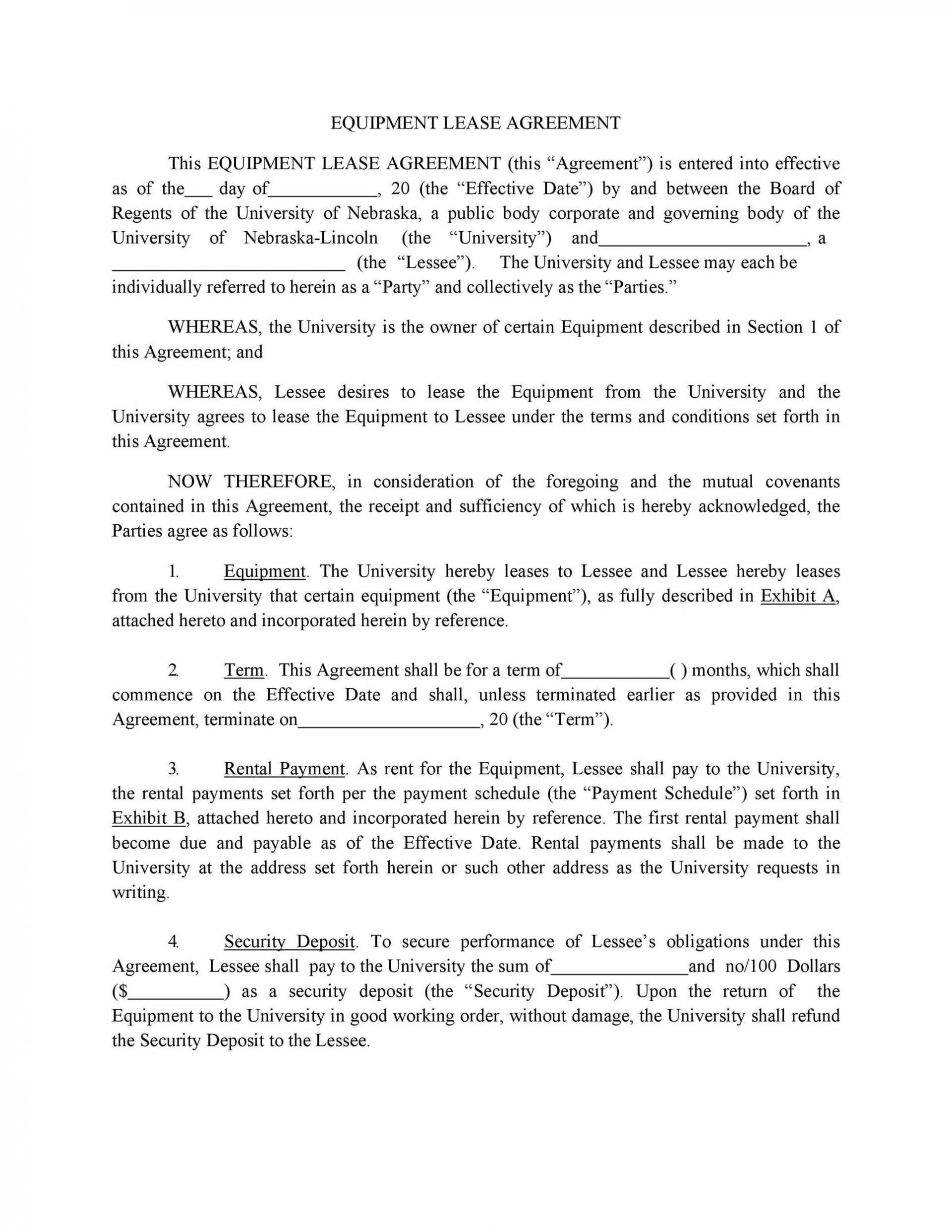 005 Wonderful Equipment Lease Contract Template Free Example  Agreement Word1920