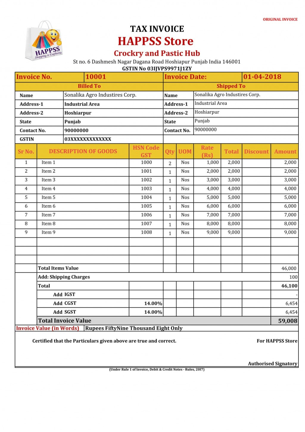 005 Wonderful Excel Gst Invoice Format Download High Def  In Pdf Tally Tax Free SheetLarge