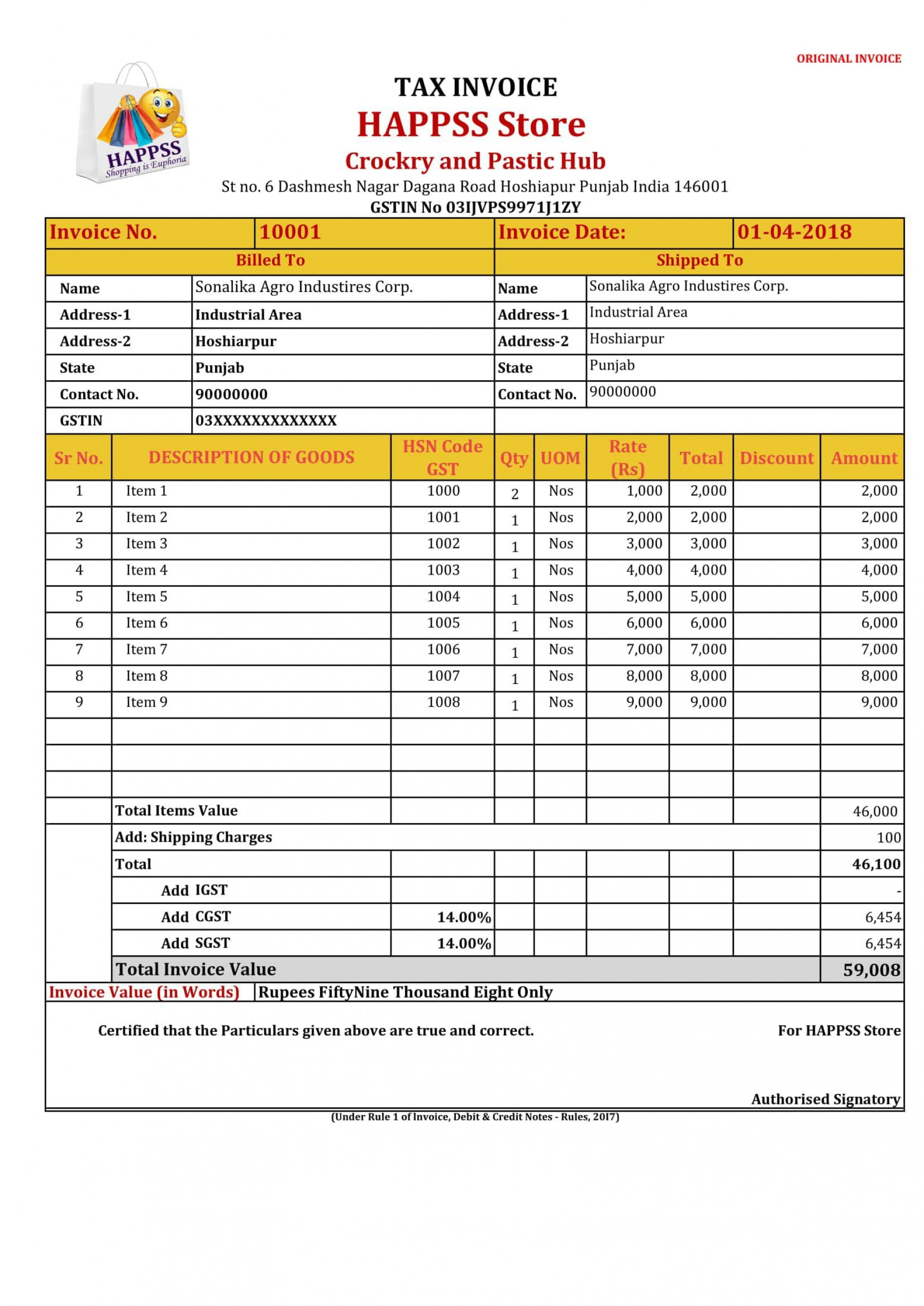 005 Wonderful Excel Gst Invoice Format Download High Def  In Pdf Tally Tax Free Sheet1920