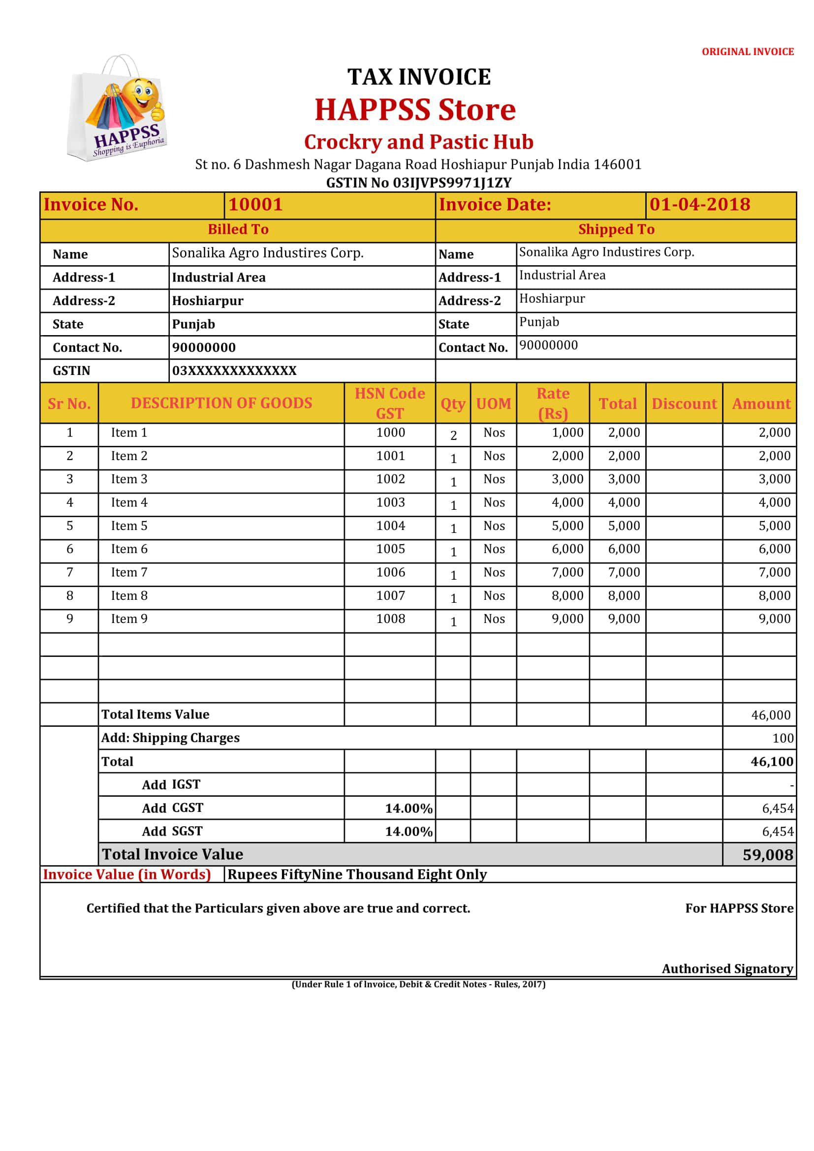 005 Wonderful Excel Gst Invoice Format Download High Def  In Pdf Tally Tax Free SheetFull