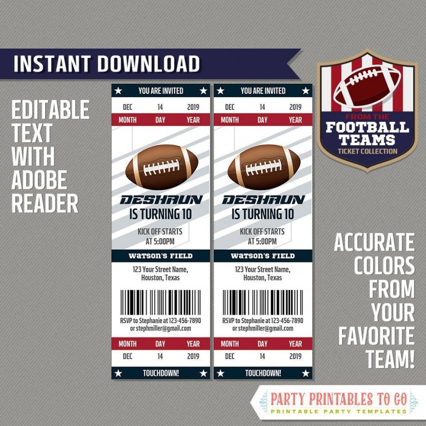 005 Wonderful Football Ticket Invitation Template Free High Definition  Download Birthday Printable