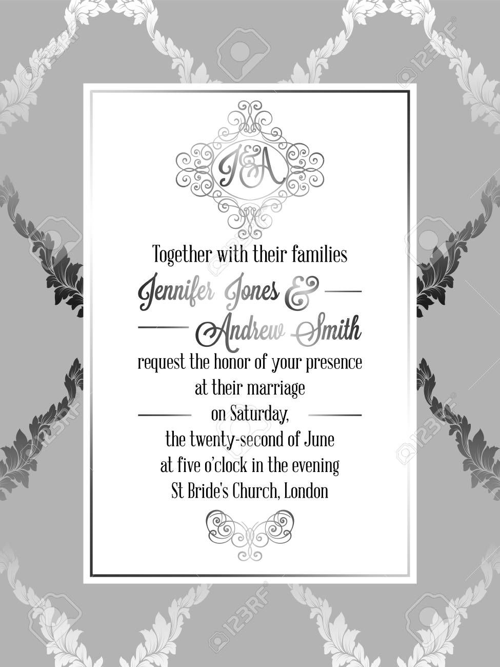 005 Wonderful Formal Wedding Invitation Template Concept  Templates Email Format Wording FreeFull