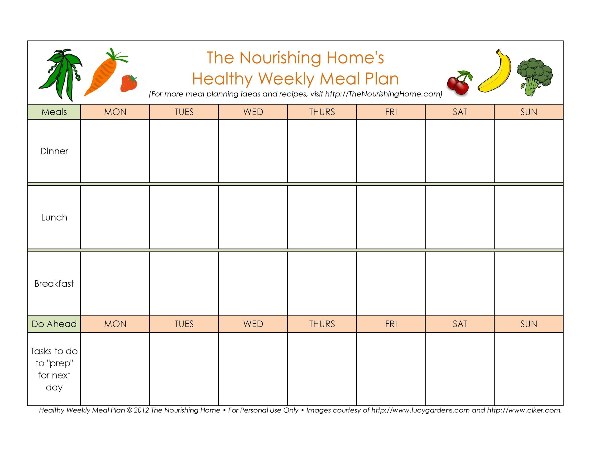 005 Wonderful Free Food Planner Template Example  Printable Weekly Meal With Grocery List Diary Download Editable WordFull