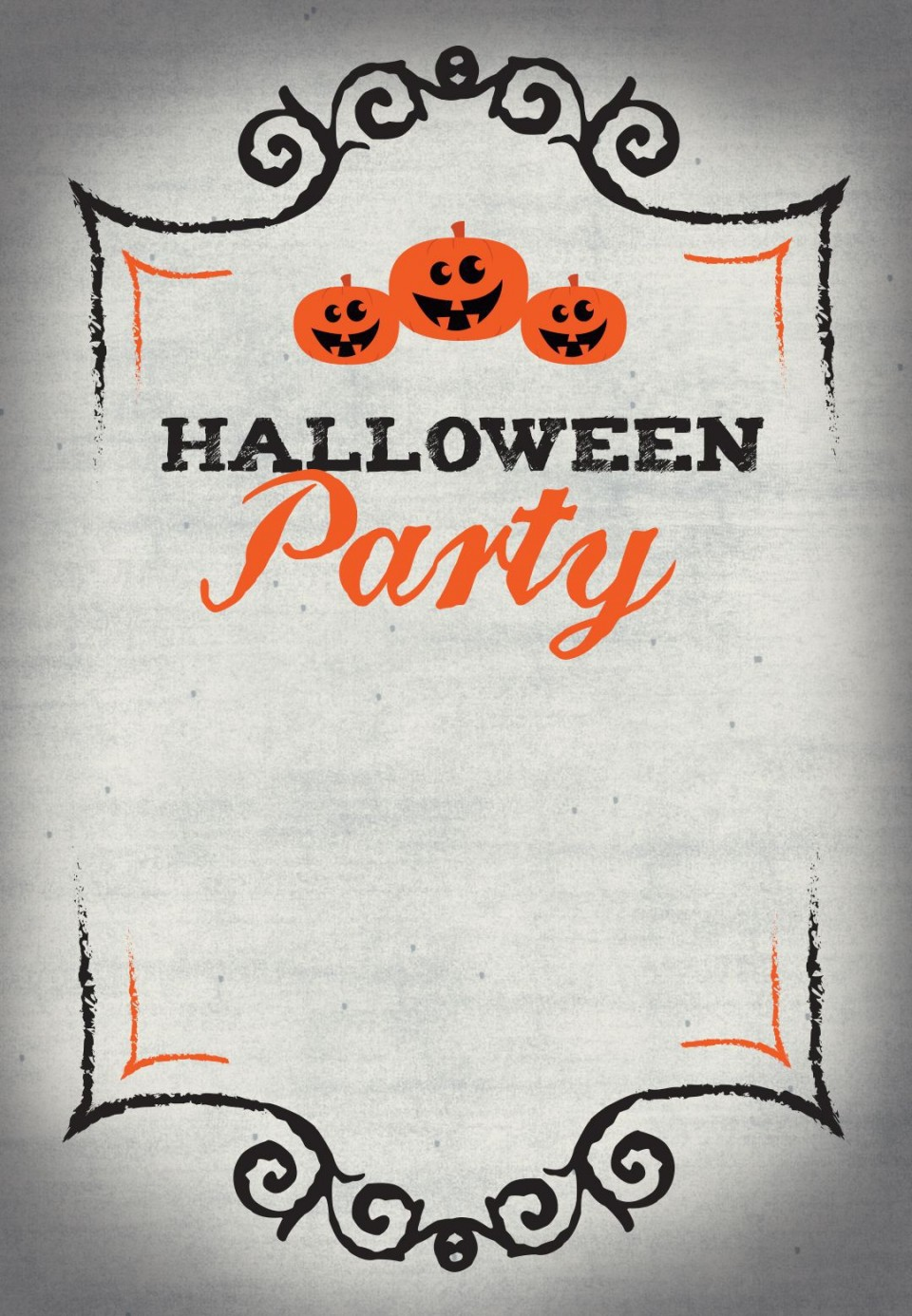 005 Wonderful Free Halloween Invitation Template Printable Highest Quality  Birthday Party960