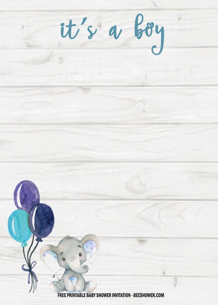 005 Wonderful Free Printable Elephant Baby Shower Invitation Template Inspiration  Templates Editable